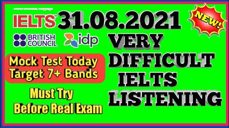 MOCK TEST IELTS LISTENING    VERY  IELTS LISTENING PRACTICE TEST   30.08.2021 NEW IELTS TEST   IDP